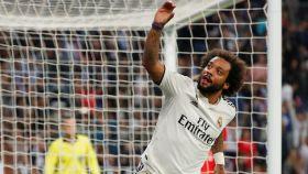 Marcelo celebra su gol ante el Viktoria Pilsen.