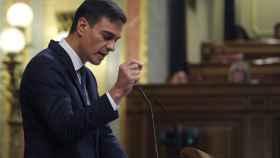 Pedro Sánchez en la sesión de control de este miércoles en el Congreso