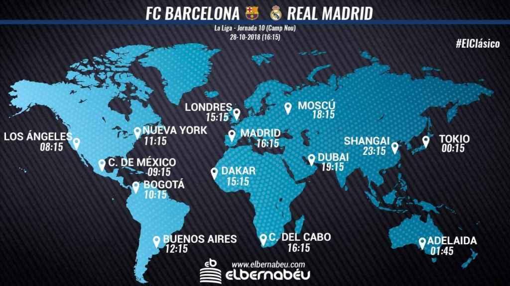 Horario internacional Barcelona - Real Madrid