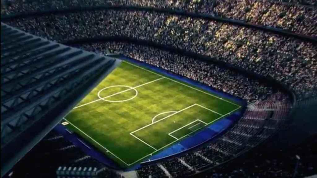 Mosaico en el Camp Nou para el Clásico