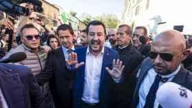 Matteo Salvini llega a San Lorenzo.