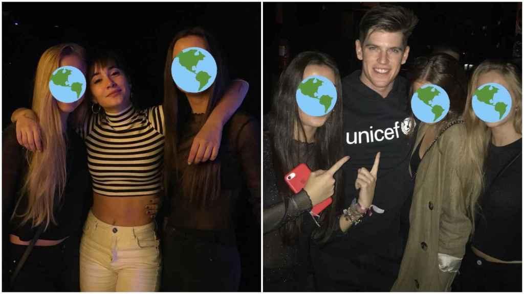 Aitana y Miguel Bernardeau en un local de copas junto a unas fans.