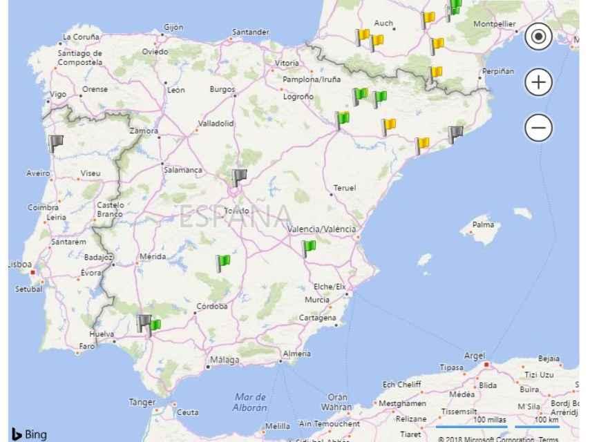 Mapa de gasolineras de hidrógeno.