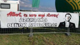 Pancarta exhibida en el Nafarroa Oinez 2018, celebrado en Alsasua.