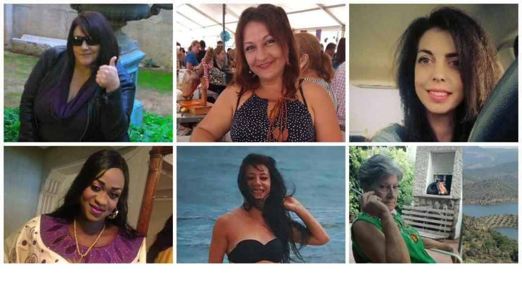 Josefa Martínez, María Manuela Castillo, Nuria Alonso, Maguette Mbeugou, María Blázquez y María José Pallarés, seis de las asesinadas en las tres semanas trágicas.