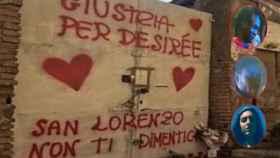 Dos de los arrestados y Desirée, la victima, sobre un graffiti en el que se lee Justicia para Desirée. San Lorenzo no te olvida