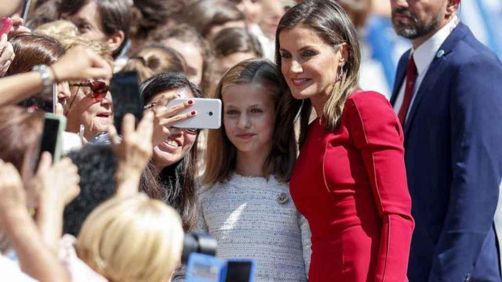 La princesa Leonor y la reina Sofía el día de Asturias.