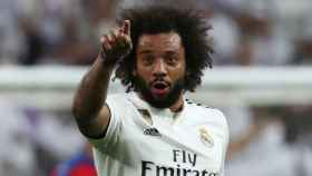 Marcelo celebrando su gol