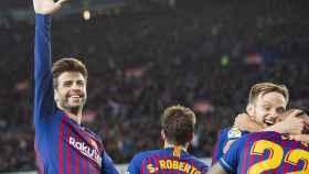 Gerard Piqué celebra la victoria del Barcelona en el Clásico. Foto: Twitter (@FCBarcelona)