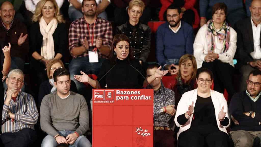Adriana Lastra, portavoz del PSOE en el Congreso, durante su intervención en el Día de la Rosa de Cascante (Navarra).