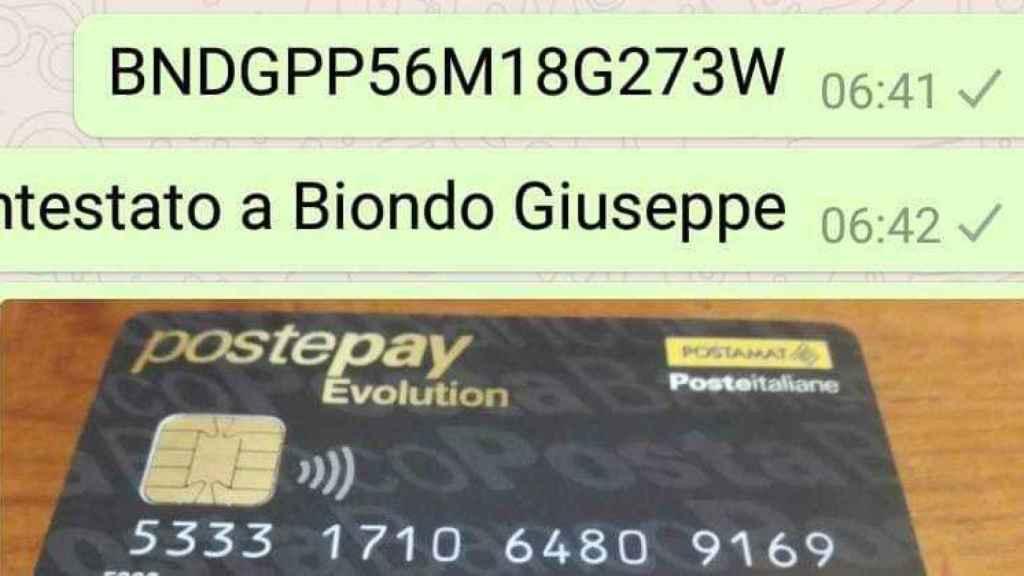 Screenshot del número de cuenta de la familia Biondo.