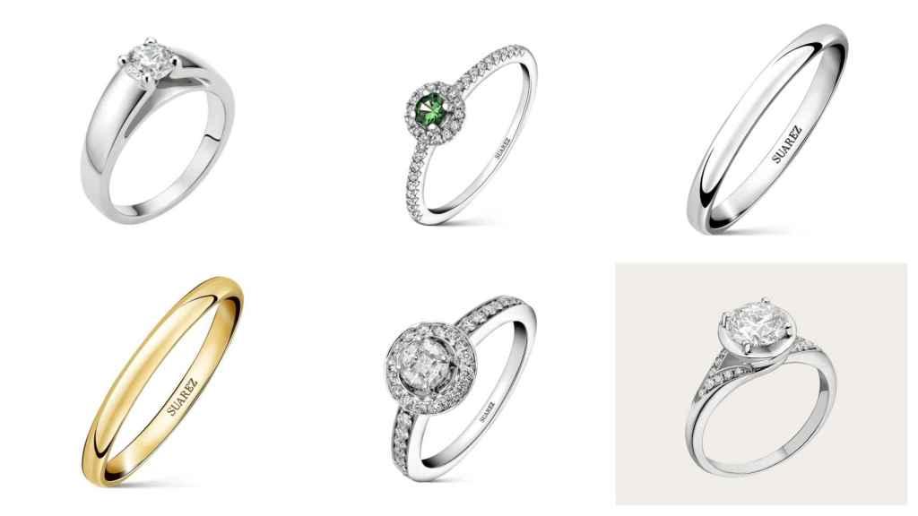 Distintos anillos en un montaje.