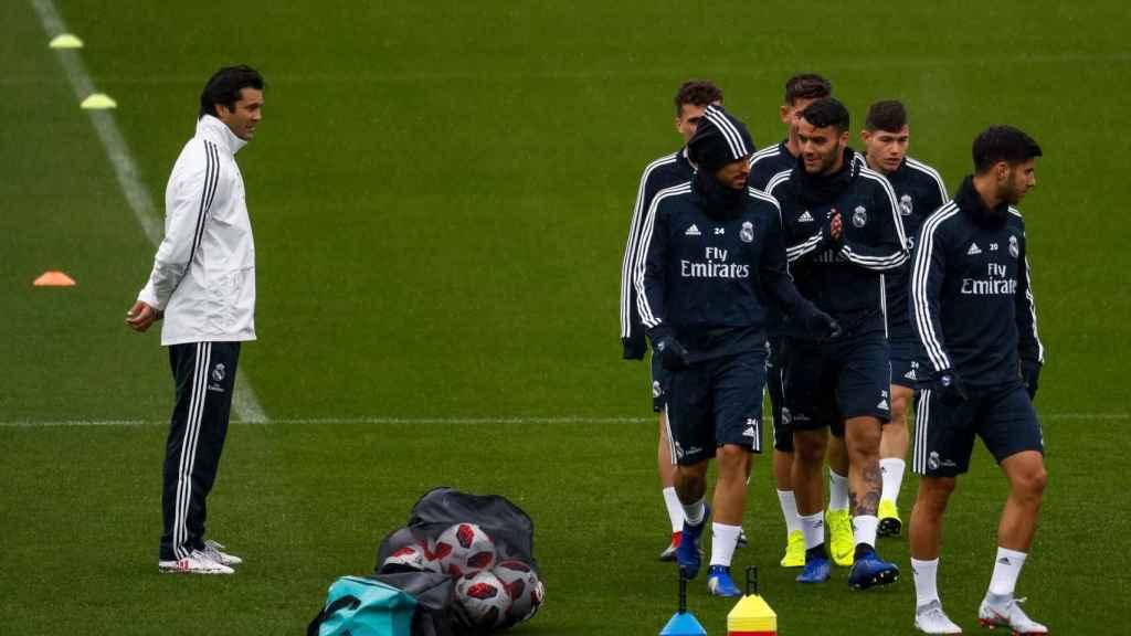Solari en un entrenamiento del Real Madrid