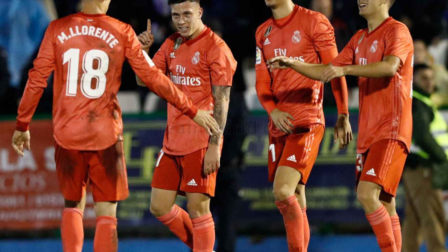 Javi Sánchez celebra el gol de Cristo