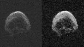 La imagen 'cadáverica' de TB145, y una versión procesada.