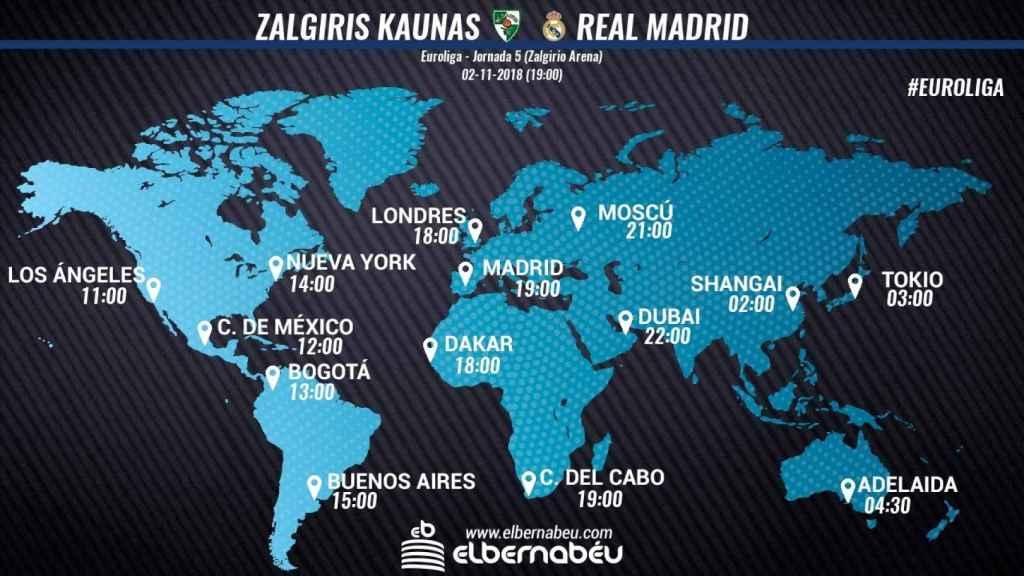 Horario partido Zalgiris Kaunas - Real Madrid