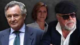 La exsecretaria general del Partido Popular, María Dolores de Cospedal, su marido Ignacio López del Hierro y el comisario investigado, José Manuel Villarejo.