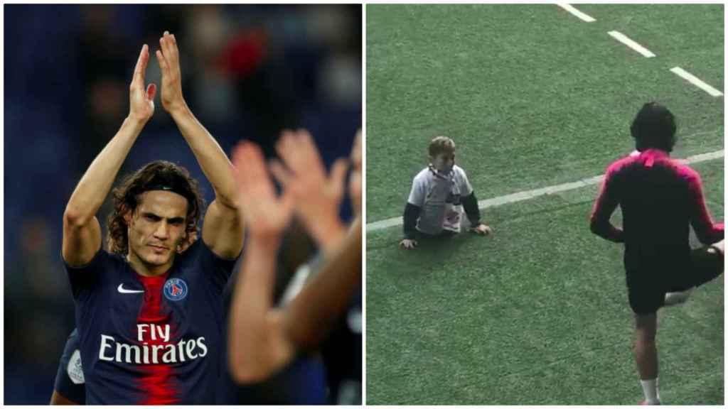 Cavani jugando con un niño sin piernas en el entrenamiento del PSG