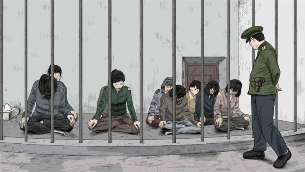 Recreación de la postura que deben adoptar las mujeres recluidas en los centros de detención