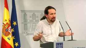 El secretario general de Podemos, Pablo Iglesias, durante una rueda de prensa en el Palacio de la Moncloa.