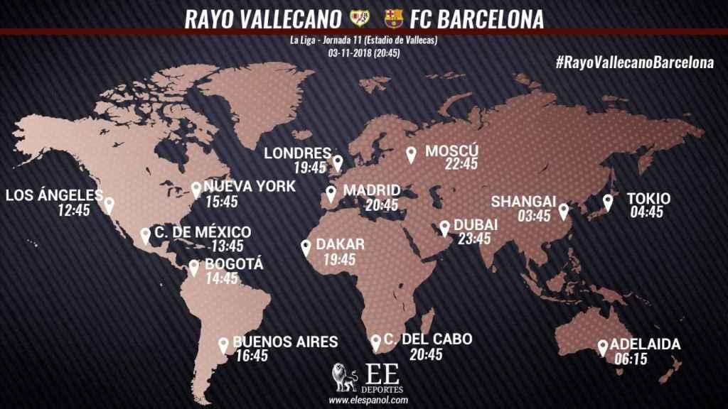 Horario internacional del Rayo Vallecano - Barcelona