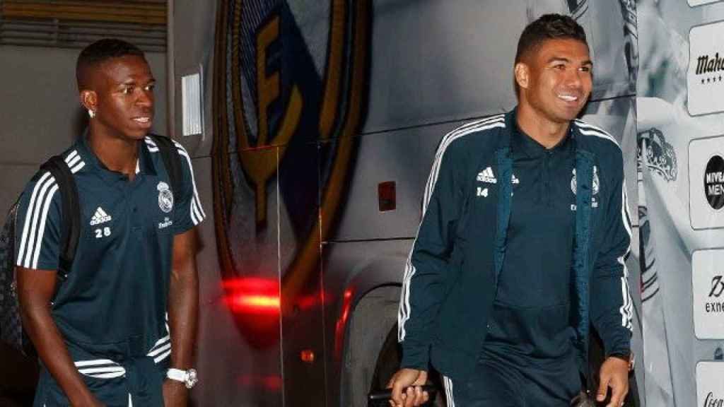 Vinicius y Casemiro durante la concentración del Real Madrid