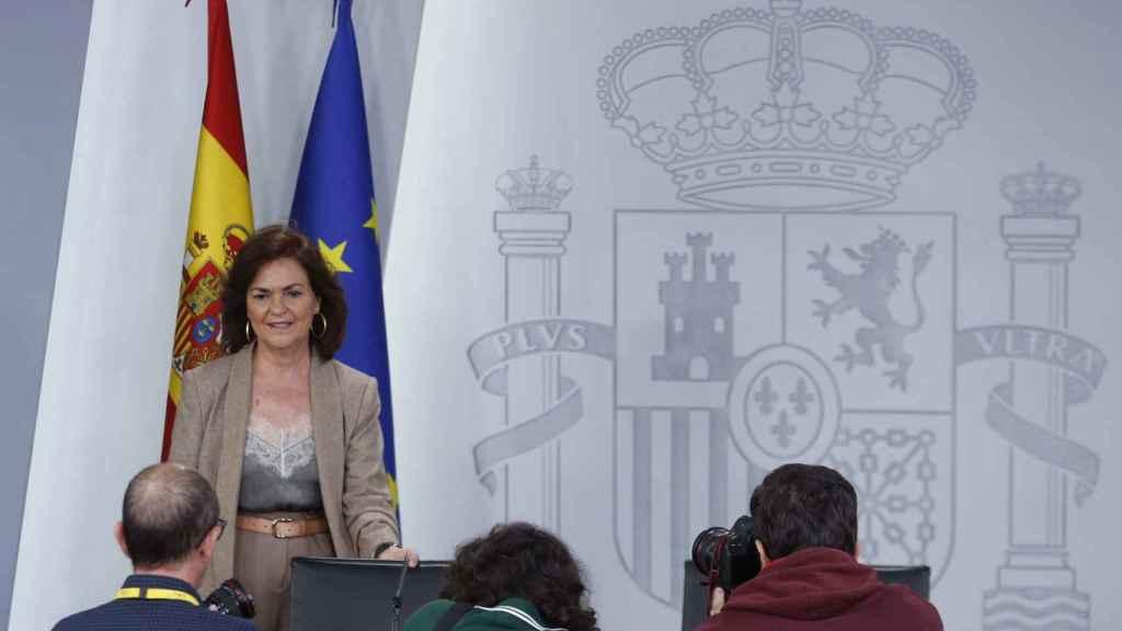Carmen Calvo, en la rueda de prensa posterior al Consejo de Ministros de este viernes.