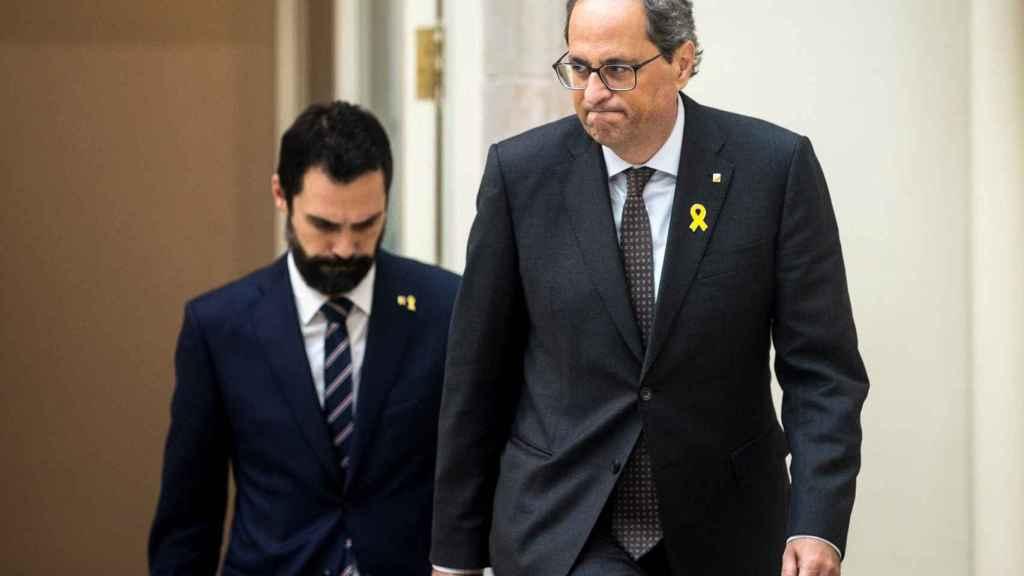Roger Torrent, presidente del Parlament, y Quim Torra, presidente de la Genetalitat de Cataluña.