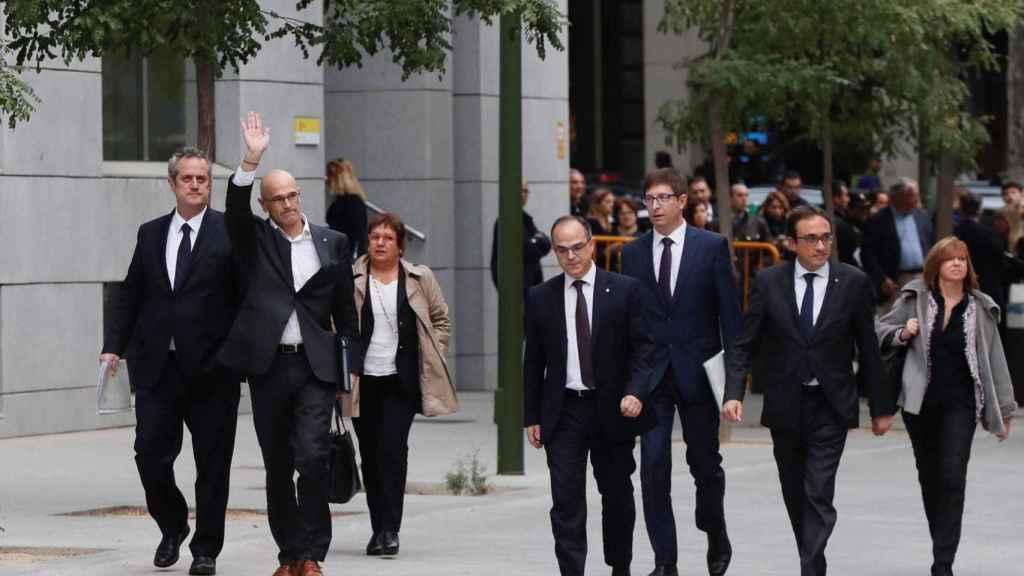 Los exconsejeros catalanes cuando fueron a declarar por primera vez a la Audiencia Nacional por el procés, octubre de 2017.