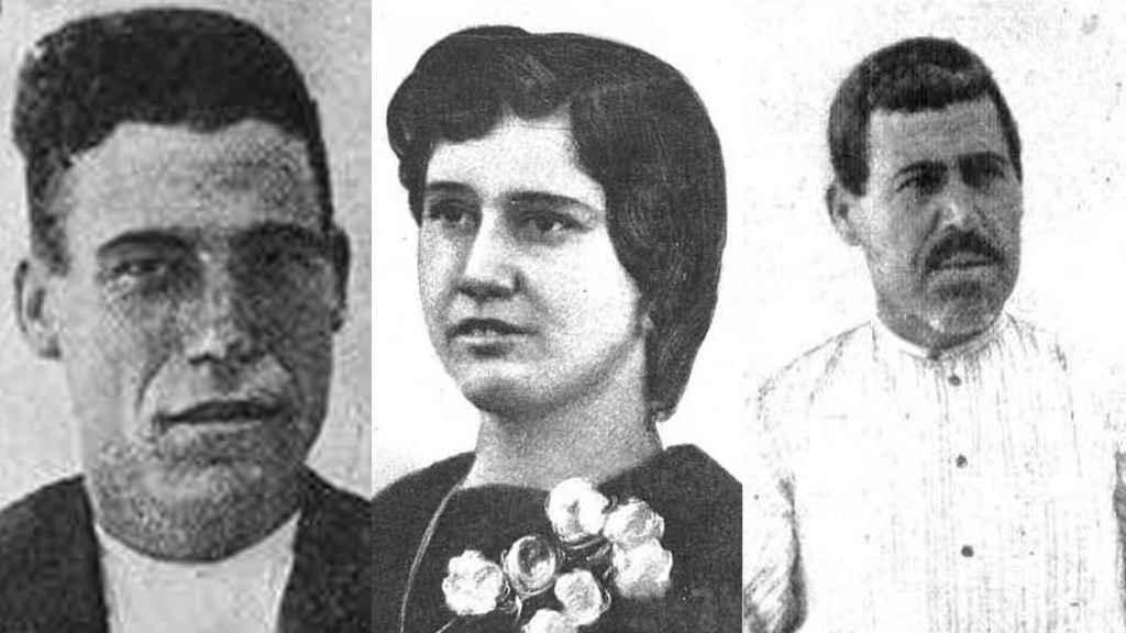 De izquierda a derecha: Casimiro, el novio plantado. Paca, la novia fugada y José, el asesino.