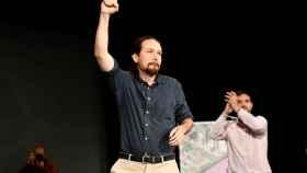 Pablo Iglesias, durante el encuentro municipalista de Podemos en Alcorcón (Madrid).