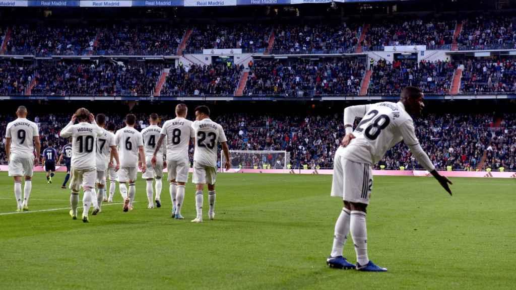 Vinicius Júnior, tras el primer gol de su equipo ante el Real Valladolid