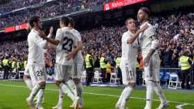 Sergio Ramos celebra el segundo gol de su equipo ante el Real Valladolid