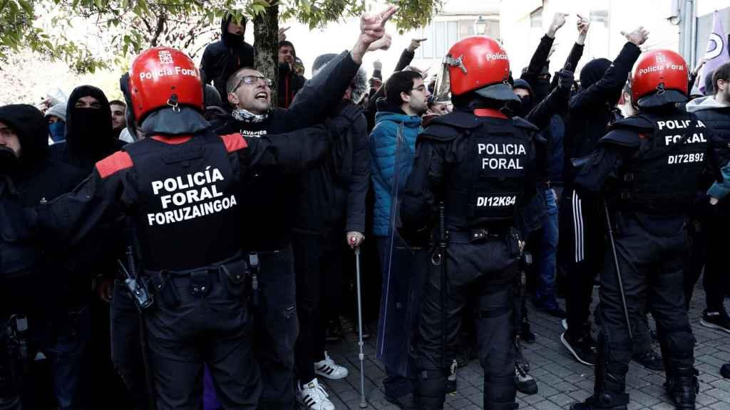 Imagen de los manifestantes en Alsasua este domingo.