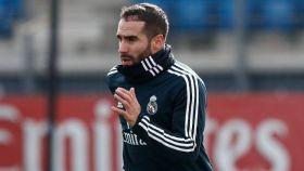 Carvajal, en un entrenamiento del Real Madrid