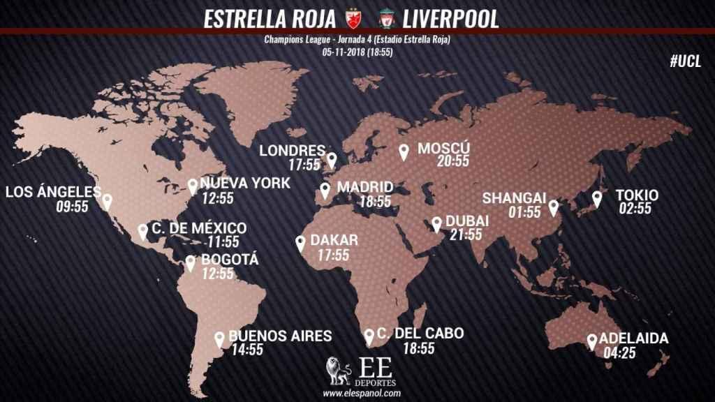 Horario Estrella Roja - Liverpool