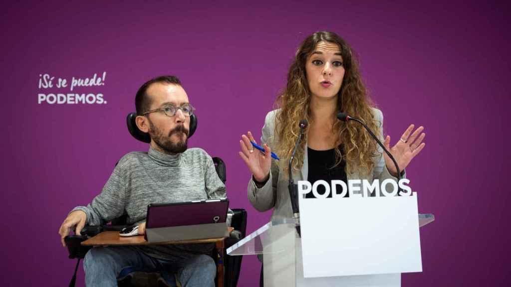 Noelia Vera, portavoz del partido, y Pablo Echenique, secretario de Organziación.