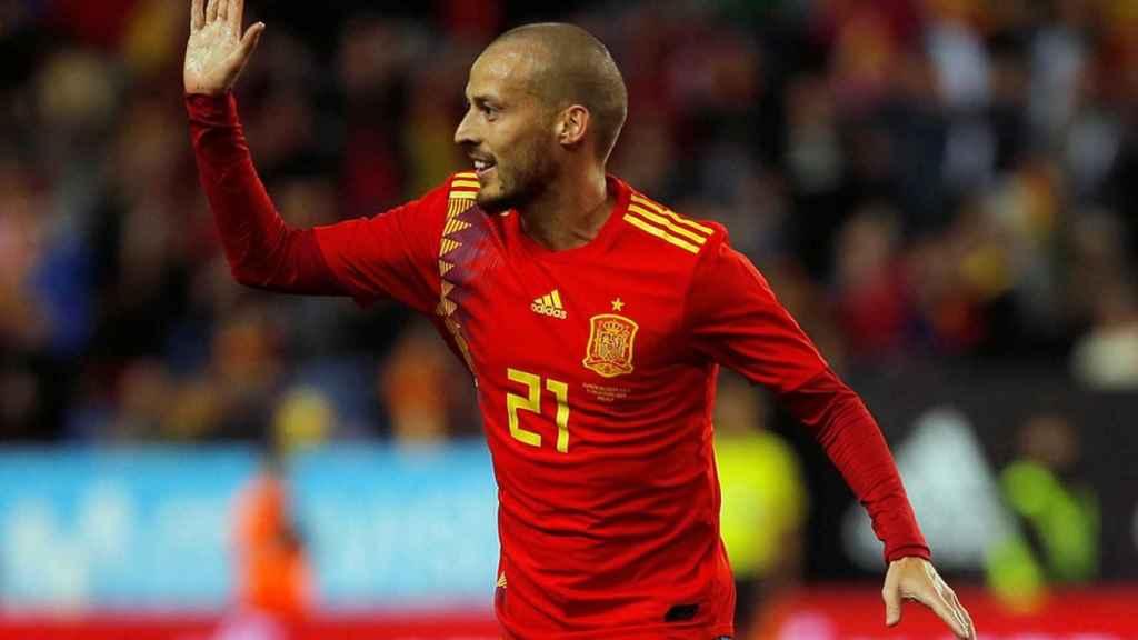 Silva, en un partido con la Selección.