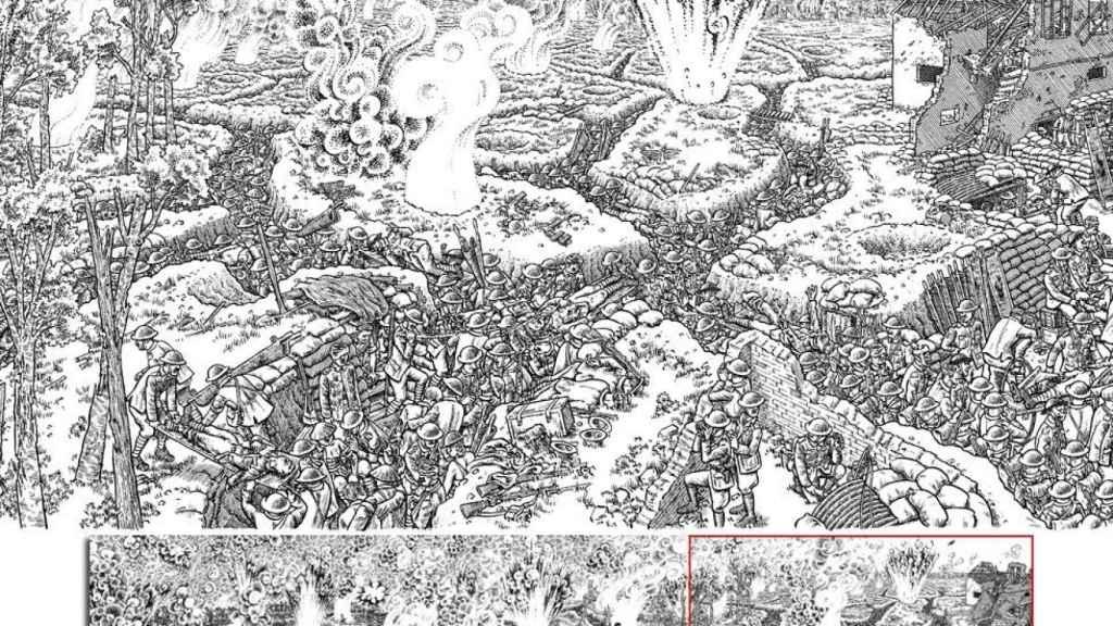 Una de las ilustraciones de 'La Gran Guerra', el libro del periodista Joe Sacco en la que recrea la batalla del Somme.