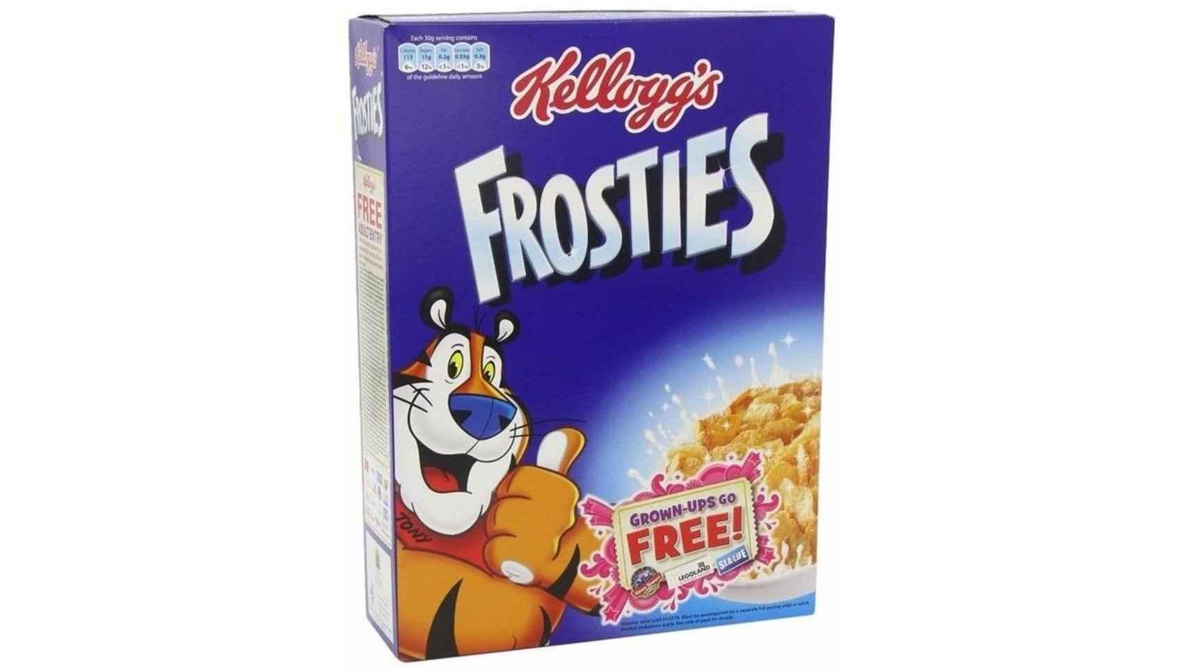2. Frosties de Kellogg's. Los populares copos de maíz tostados y azucarados de carismático tigre Tony y su bandana roja tienen hasta 41,3 gramos de azúcar por 100 gramos de producto