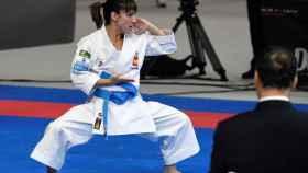 La española Sandra Sánchez, durante su actuación en los Mundiales de kárate.
