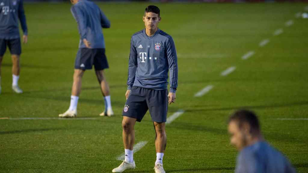 James, en un entrenamiento con el Bayern