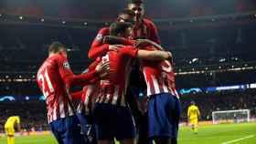 Los jugadores del Atlético de Madrid celebrando un gol