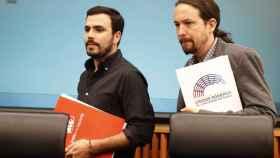 Alberto Garzón y Pablo Iglesias, líderes de Unidos Podemos.