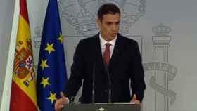 Pedro Sánchez, durante su comparecencia por el tema de las hipotecas.