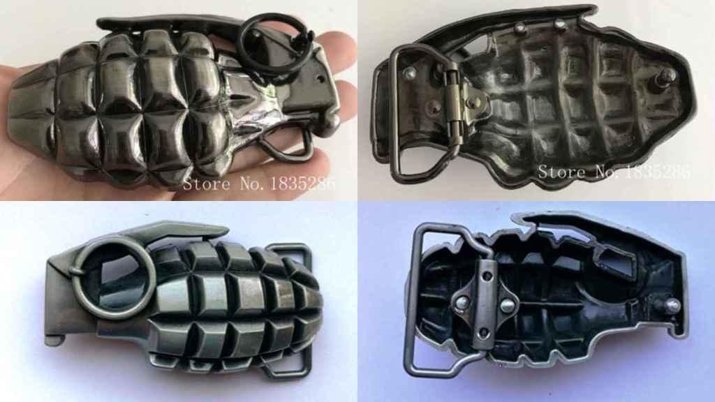 Algunas de las hebillas de cinturón en forma de granada que se pueden comprar por internet
