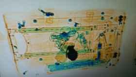 Imagen de la hebilla del cinturón al pasar por el escáner.