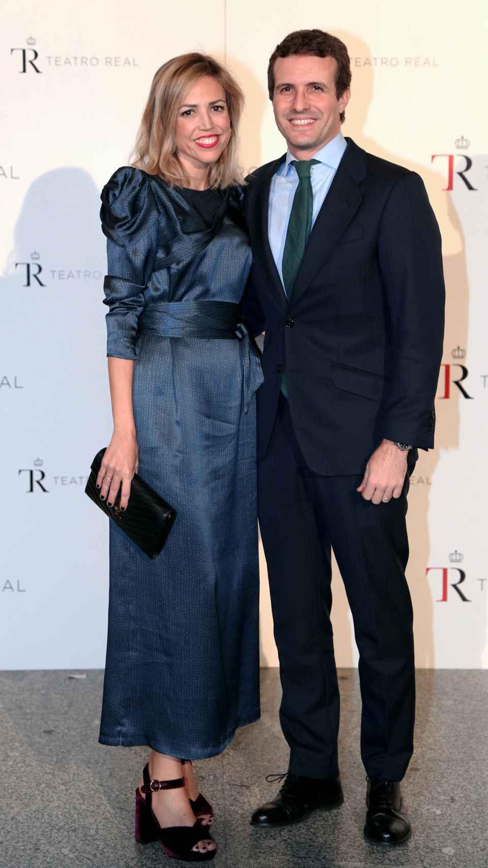 Isabel Torres y Pablo Casado en la Gala 2018 del Teatro Real.