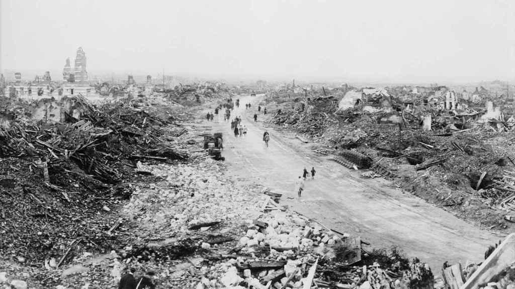 La ciudad de Lens, devastada durante la I Guerra Mundial