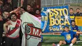 Peñas de River Plate y Boca Juniors, en Madrid